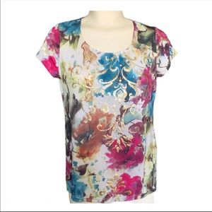 Cleo Petites short sleeve top with gold detail XS